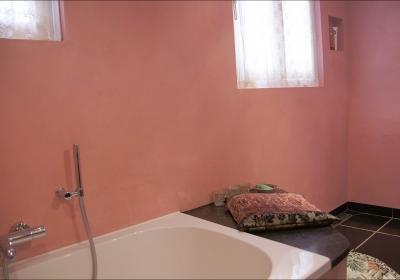 Roze badkamer in beton cir�